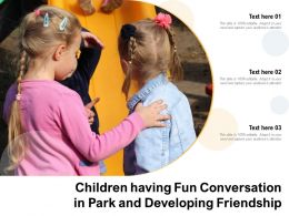 Children Having Fun Conversation In Park And Developing Friendship