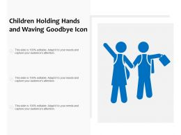 Children Holding Hands And Waving Goodbye Icon
