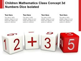 Children Mathematics Class Concept 3d Numbers Dice Isolated