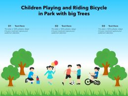 Children Playing And Riding Bicycle In Park With Big Trees