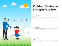 Children Playing On Swing In Park Icon