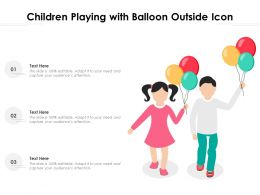 Children Playing With Balloon Outside Icon