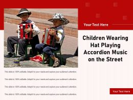 Children Wearing Hat Playing Accordion Music On The Street