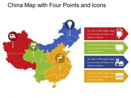 China Map With Four Points And Icons