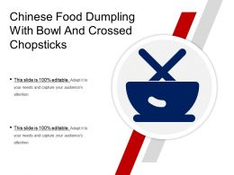 Chinese Food Dumpling With Bowl And Crossed Chopsticks