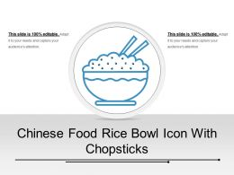 Chinese Food Rice Bowl Icon With Chopsticks