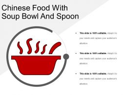 Chinese Food With Soup Bowl And Spoon
