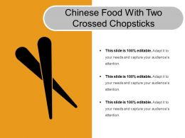 Chinese Food With Two Crossed Chopsticks