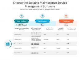 Choose The Suitable Maintenance Service Management Software