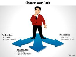 choose your path confused man on 3 diverging arrows choice powerpoint diagram templates slides graphics 712