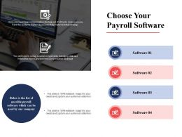 Choose Your Payroll Software Strategy Ppt Powerpoint Presentation Diagram Lists