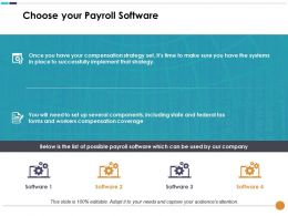 Choose Your Payroll Software With Four Icons Compensation Plan