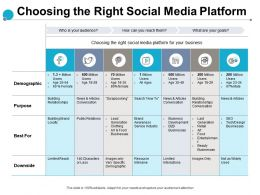 Choosing The Right Social Media Platform Purpose Demographic Ppt Slide