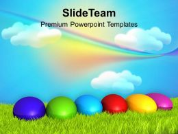 Christ Easter Eggs With Rainbow Theme Powerpoint Templates Ppt Backgrounds For Slides