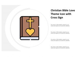 Christian Bible Love Theme Icon With Cross Sign