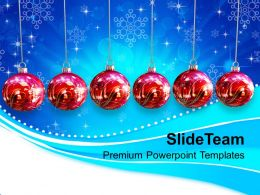 Christian Christmas Baubles Hanging On Abstract Powerpoint Templates Ppt Backgrounds