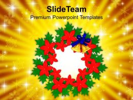 Christian Christmas Bell Wreath Decorations Powerpoint Templates Ppt Backgrounds For Slides