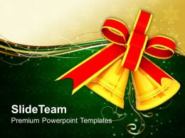 Christian Christmas Golden Bell With Red Bow Powerpoint Templates Ppt Backgrounds For Slides
