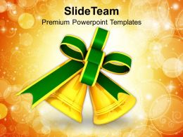 Christian Christmas Golden Bells Holidays Powerpoint Templates Ppt Backgrounds For Slides