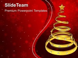 Christian Christmas Golden Decorative Tree Festival Templates Ppt Backgrounds For Slides