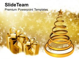 Christian Christmas Golden Tree With Gifts Festival Templates Ppt Backgrounds For Slides
