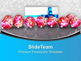 Christian Christmas Pink Balls And Gift Powerpoint Templates Ppt Backgrounds For Slides