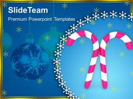 Christian Christmas Pink Candy Cane Festival Templates Ppt Backgrounds For Slides