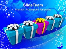 Christian Christmas Pink Gift Box With Row Of Blue Concept Templates Ppt Background For