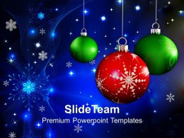 Christian Christmas Red And Green Balls Beautiful Festival Templates Ppt Backgrounds For