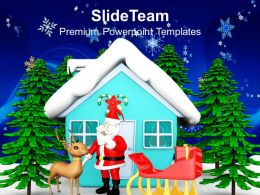 Christian Christmas Santa In Night Outside The House Templates Ppt Backgrounds For Slides