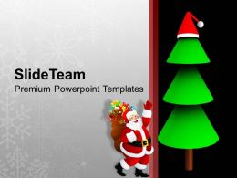 Christian Christmas Santa Reaching Tree With Gifts Templates Ppt Backgrounds For Slides