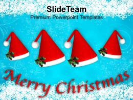 Christian Christmas Set Of Red Santa Hats Celebrating Templates Ppt Backgrounds For Slides