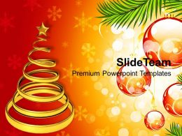 Christian Christmas Shinning Tree On Decorative Background Powerpoint Templates