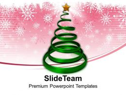 Christian Christmas Tree In Spiral Form With Star Powerpoint Templates Ppt Backgrounds Slides