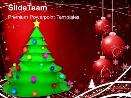 Christian Christmas Tree With Balls Powerpoint Templates Ppt Backgrounds For Slides