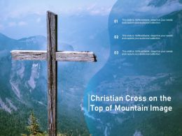 Christian Cross On The Top Of Mountain Image