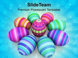 Christian Easter Eggs Colorful Celebration Powerpoint Templates Ppt Backgrounds For Slides