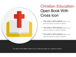 Christian Education Open Book With Cross Icon