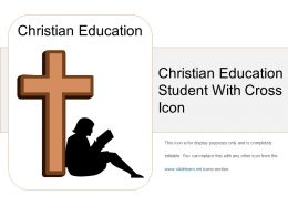 Christian Education Student With Cross Icon