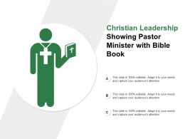 Christian Leadership Showing Pastor Minister With Bible Book