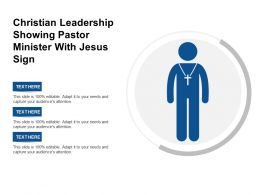 Christian Leadership Showing Pastor Minister With Jesus Sign