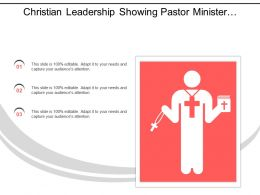 Christian Leadership Showing Pastor Minister With Jesus Sign And Bible