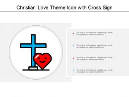 Christian Love Theme Icon With Cross Sign