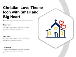 Christian Love Theme Icon With Small And Big Heart