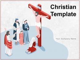 Christian Template Cross Church Windows Benches Golden Praying Multicolor