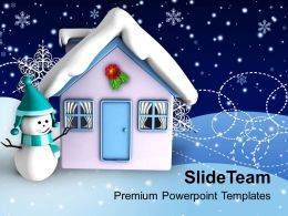 Christmas Angels Happy 3d Illustration Of House With Theme Holidays Powerpoint Templates Ppt