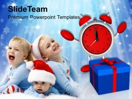 Christmas Background Present With Clock Celebration Holidays Templates Ppt For Slides