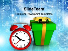 Christmas Background Present With Clock Shapes Powerpoint Templates Ppt For Slides