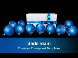 Christmas Balls Around Gift Festival PowerPoint Templates PPT Backgrounds For Slides 0113