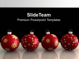 Christmas Balls On Black Background PowerPoint Templates PPT Backgrounds For Slides 0113